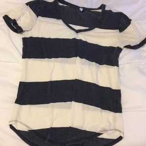 Lulu's Blue and White Stripe T Shirt